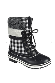 Plaid Sherpa Fur Lace Up Rubber Duck Boots-Black and White Plaid