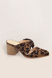 Closed Toe Bow Shoes with Stacked Leather Low Heel-Leopard Print