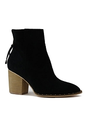 Faux Suede Block Heel Closed Toe Booties with Studded Sole-Black