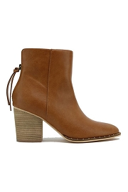 Faux Suede Block Heel Closed Toe Booties with Studded Sole-Camel Brown