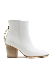 Faux Leather Block Heel Closed Toe Booties with Studded Sole-White
