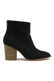 Faux Suede Closed Toe Ankle Booties with Block Heel and Studded Sole-Black