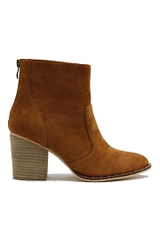 Faux Suede Closed Toe Ankle Booties with Block Heel and Studded Sole-Camel Brown