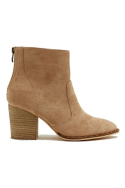 Faux Suede Closed Toe Ankle Booties with Block Heel and Studded Sole-Taupe