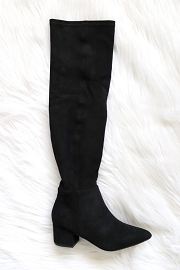 Faux Suede Over the Knee Boots with Low Heel-Black