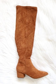 Faux Suede Over the Knee Boots with Low Heel-Tan Brown