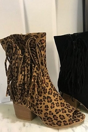 Bohemian Open Toe Zipper Fringe Faux Suede High Ankle Booties-Leopard