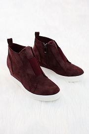 Perforated Wedge Sneakers-Burgundy Plum