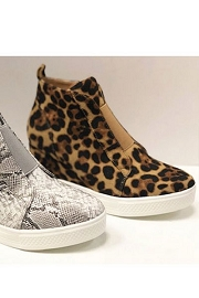 Animal Print Wedge Sneakers-Leopard Print