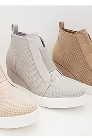 Perforated Wedge Sneakers-Light Grey