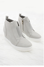 FLASH DEAL: Perforated Wedge Sneakers-Light Grey
