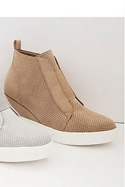 Perforated Wedge Sneakers-Oatmeal Beige