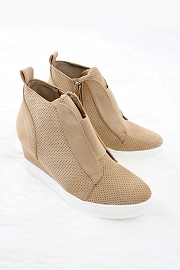 Perforated Wedge Sneakers-Oatmeal Nude Beige