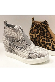 Animal Print Wedge Sneakers-Snake Skin Print