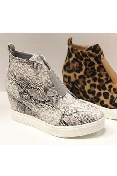 Animal Print Wedge Sneakers-Snake Skin