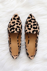 Classic Pointy Toe Closed Toe Loafer Flats Shoes-Leopard Print