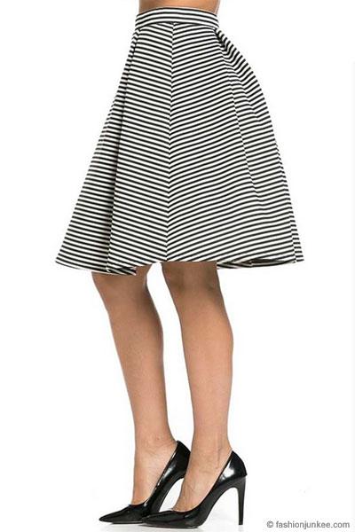 db42999f89 Striped Flared Midi Skirt-Black   White