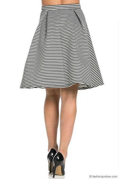 13b6e6165b0a Striped Flared Midi Skirt-Black & White