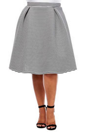 :As Seen In PEOPLE STYLEWATCH Magazine: PLUS SIZE Striped Flared Midi Skirt-Black & White