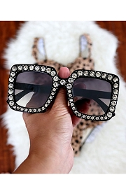 Rhinestone Oversized Sunglasses-Black