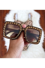 Rhinestone Oversized Sunglasses-Brown