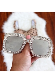 Rhinestone Oversized Sunglasses-Clear