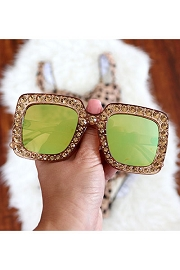 Rhinestone Oversized Sunglasses-Tan