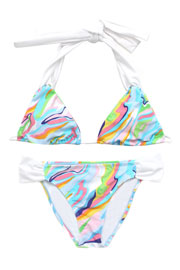 :As Seen In US WEEKLY: Three-Piece Multi-Color Halter Triangle Bikini Set-Blue