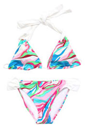 :As Seen In US WEEKLY: Three-Piece Multi-Color Halter Triangle Bikini Set-Pink