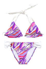:As Seen In US WEEKLY: Three-Piece Multicolor Halter Triangle Bikini Set-Purple