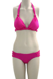 Sexy Two Piece Triangle Bikini Swimsuit with Braided Straps-Hot Pink