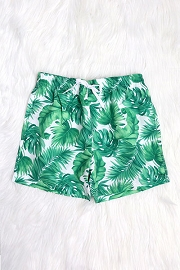 Men's Drawstring Swim Trunks Shorts-Green Leaf Print