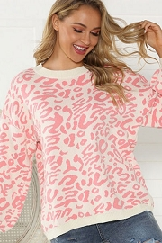 Thick Boxy Oversized Leopard Print Sweater Top-Pink