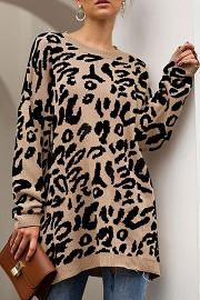 Long Oversized Leopard Print Sweater Top-Beige Leopard