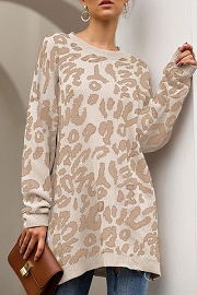 Long Oversized Leopard Print Sweater Top-Taupe Leopard
