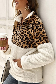 Leopard Print Sherpa Fleece Pullover Zip Up Sweater Top-White