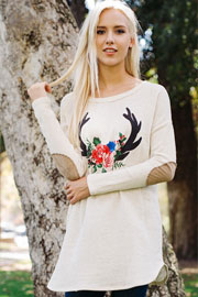 Deer Antler & Rose Long Sleeve French Terry Elbow Patch Tunic Top-Beige