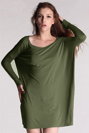 Piko Bamboo Long Sleeve Loose Oversized Off the Shoulder Top-Olive Green