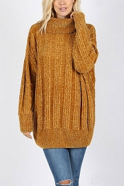 Soft Oversized Chenille Cable Knit Turtleneck Sweater-Mustard Yellow