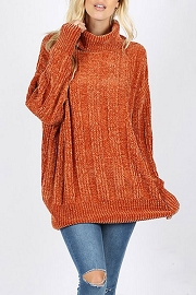 Soft Oversized Chenille Cable Knit Turtleneck Sweater-Rust