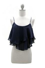 Cropped Layered Chiffon Tank Top with Unbalanced Hem-Navy Blue