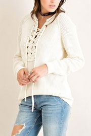 Thick Long Sleeve Chunky Lace Up Sweater Top-Off White