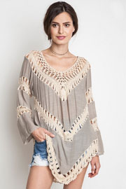 Boho V-Neck Long Sleeve Crochet Tunic Top-Taupe