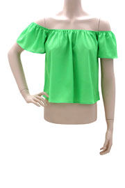 Cropped Short Sleeve Elastic Off the Shoulder Peasant Top-Lime Green
