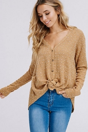 Polka Dot Long Sleeve Button Up Top with Front Knot-Taupe