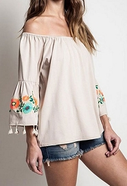 :As Seen In PEOPLE STYLEWATCH Magazine: Off the Shoulder Floral Embroidered Tassel Bell Sleeve Top-Beige