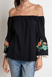:As Seen In PEOPLE STYLEWATCH Magazine: Off the Shoulder Floral Embroidered Tassel Bell Sleeve Top-Black