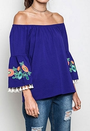 :As Seen In PEOPLE STYLEWATCH Magazine: Off the Shoulder Floral Embroidered Tassel Bell Sleeve Top-Blue