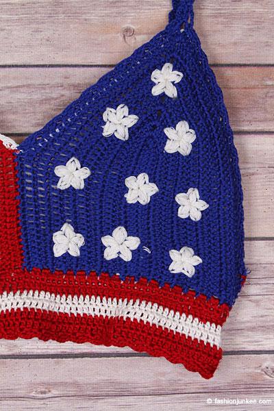Flag Boho Cropped Knit Crochet Festival Tank Top Bralette Red White