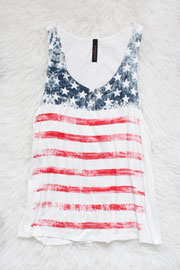Red, White & Blue American Flag Tank Top-White